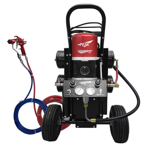 C.A. Technologies Air-Assist-Airless (AAA) 14:1 Cougar Peak Performance Pump Cart Set-up with Oil-less Compressor