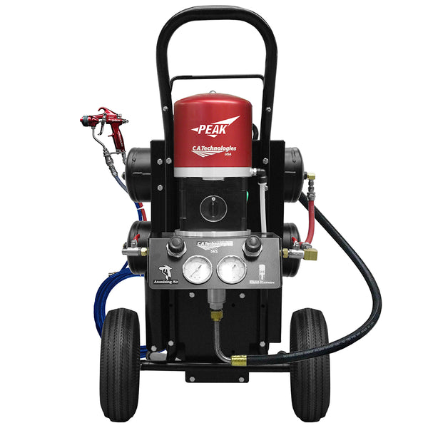 C.A. Technologies Air-Assist-Airless (AAA) Portable Disinfectant Spray System - 14:1 Bobcat Peak Performance Pump Cart Set-up with Oil-less Compressor