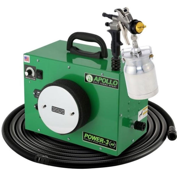 Apollo POWER-3 VS™ HVLP Turbine Spray System - 1 Quart (Qt.) Aluminum Bottom Feed Cup & 3M Series 2.0 PPS Options