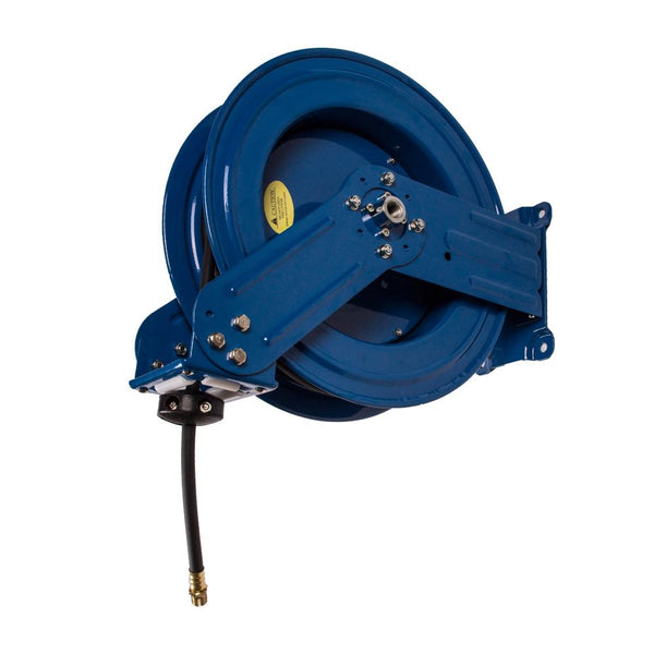 Dual Arm Automatic Rewind Air Hose Reel (75 ft - Quality German Flexible Hybrid Hose)