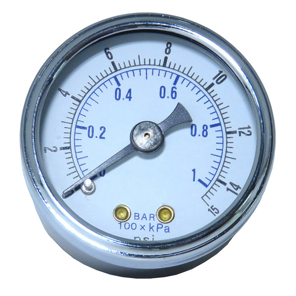 Gauge - Glass Lens (0-15 psi)