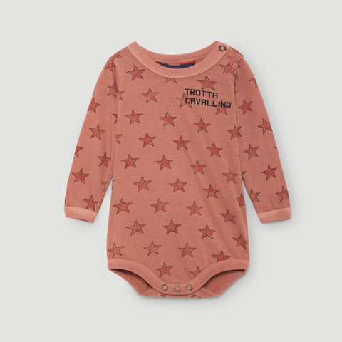 The Animals Observatory Wasp Unisex Long Sleeve Baby Body Onesie Top in Dark Orange Stars | BIEN BIEN