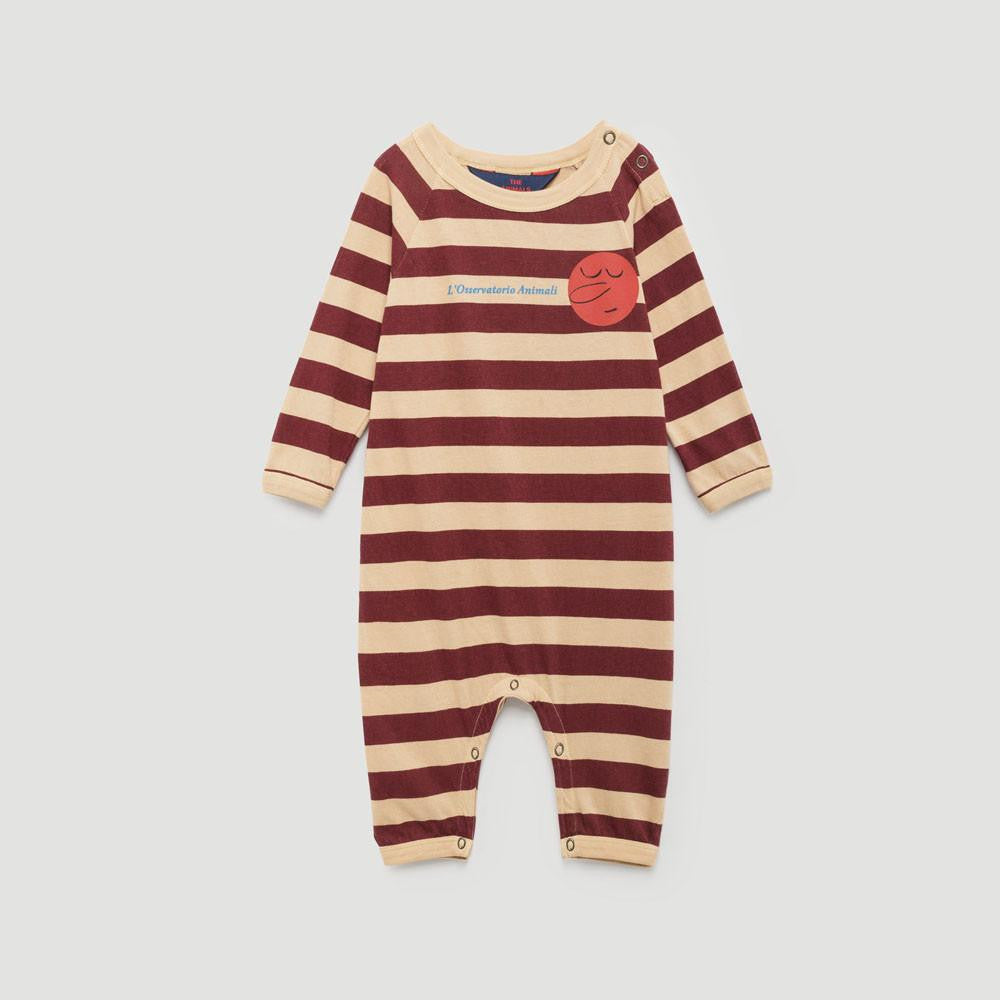 The Animals Observatory Owl Unisex Long Sleeve Baby One-Piece Romper in Cream Stripes | BIEN BIEN