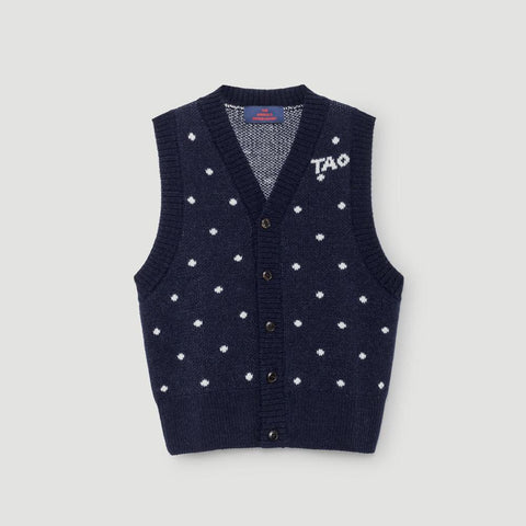The Animals Observatory Bat Kid's Cardigan Sweater Vest in Deep Blue Polka Dots | BIEN BIEN