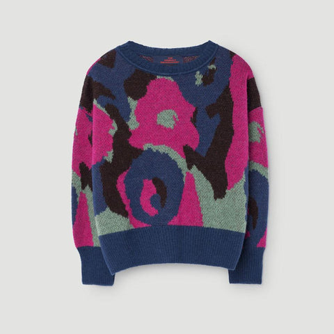 The Animals Observatory Bull Kid's Pullover Sweater in Electric Blue Camouflage | BIEN BIEN