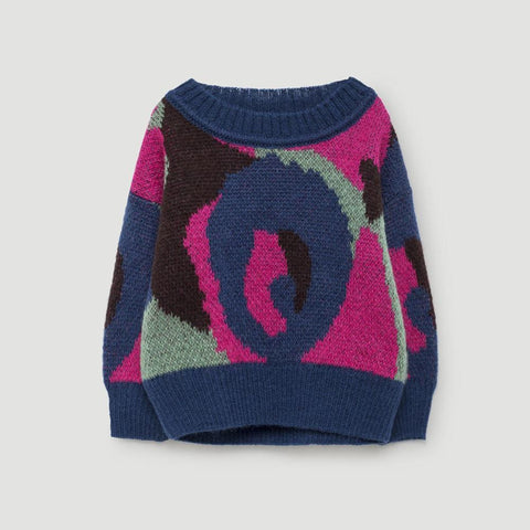 The Animals Observatory Bull Baby Girl Sweater in Electric Blue | BIEN BIEN