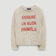 The Animals Observatory Bull Kid's Pullover Sweater in Ivory/Red Essere Un Buon Animale | BIEN BIEN
