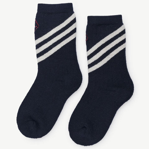 The Animals Observatory Skunk Unisex Kid's Socks in Navy Blue Ivory Stripe | BIEN BIEN