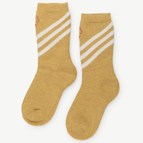 The Animals Observatory Skunk Unisex Kid's Socks in Ochre Yellow Ivory Stripe | BIEN BIEN