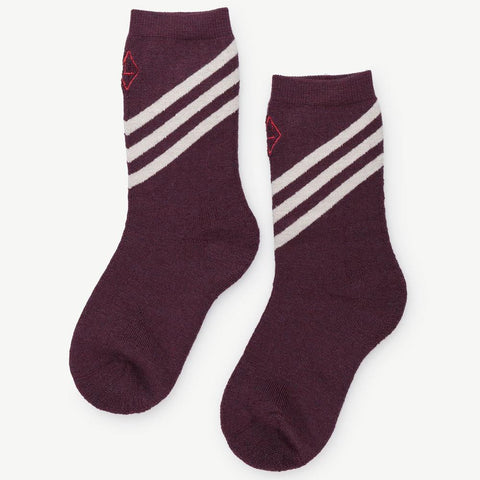 The Animals Observatory Skunk Unisex Kid's Socks in Maroon Ivory Stripe | BIEN BIEN