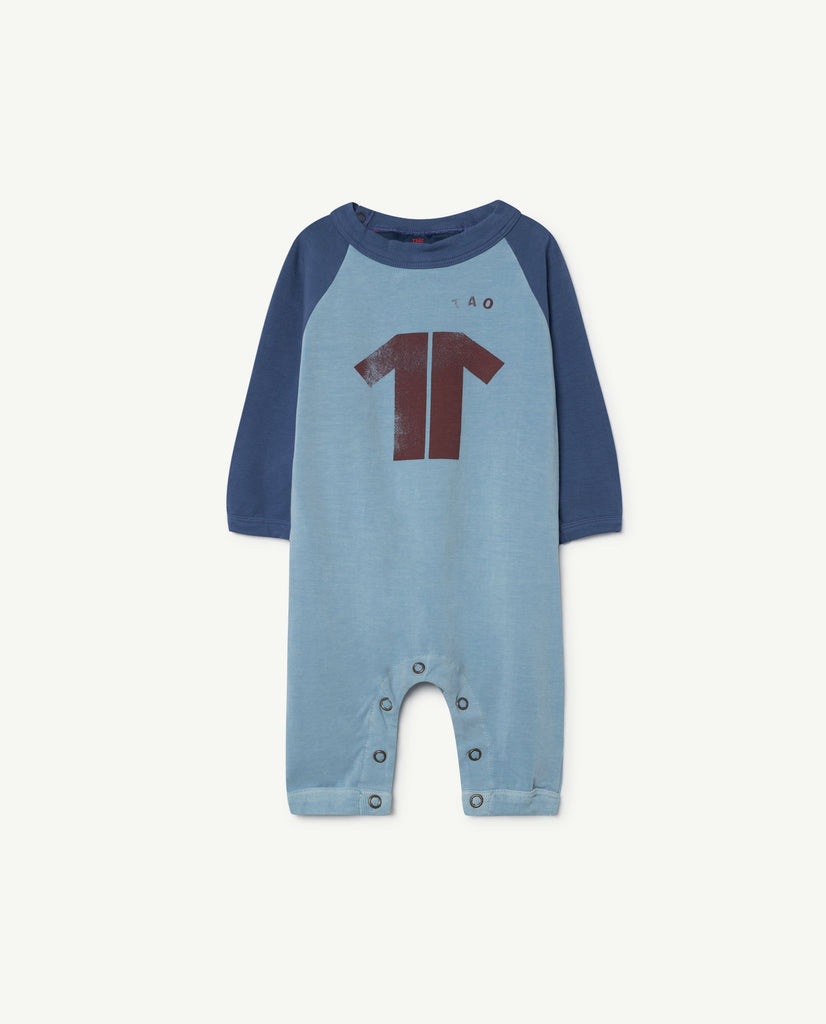 The Animals Observatory Owl Unisex Baby One-Piece Blue Maroon TAO | BIEN BIEN