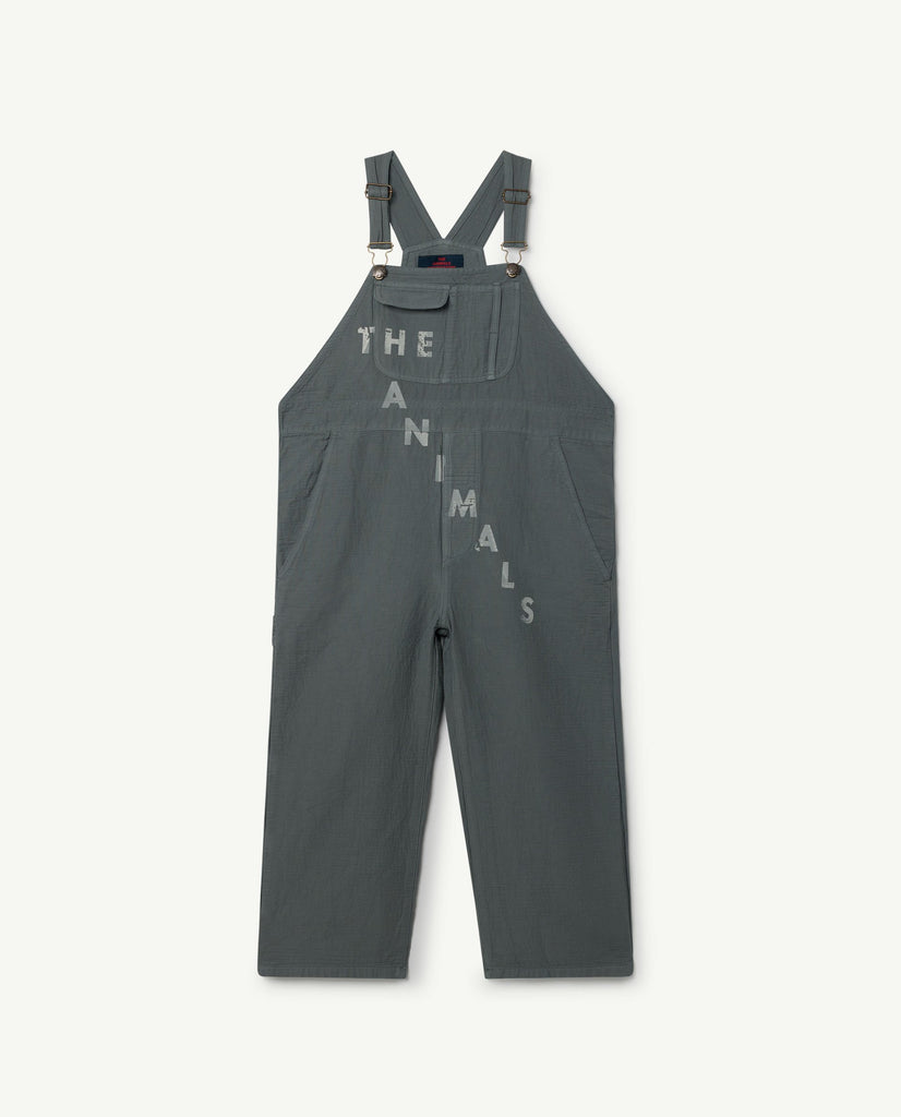 The Animals Observatory Mechanic Unisex Kid's Overalls Grey | BIEN BIEN