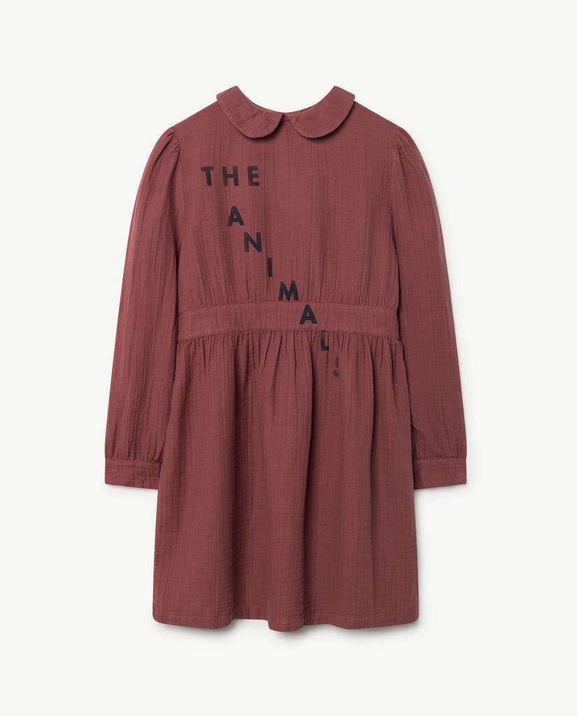 The Animals Observatory Canary Kid's Cotton Dress Maroon | BIEN BIEN