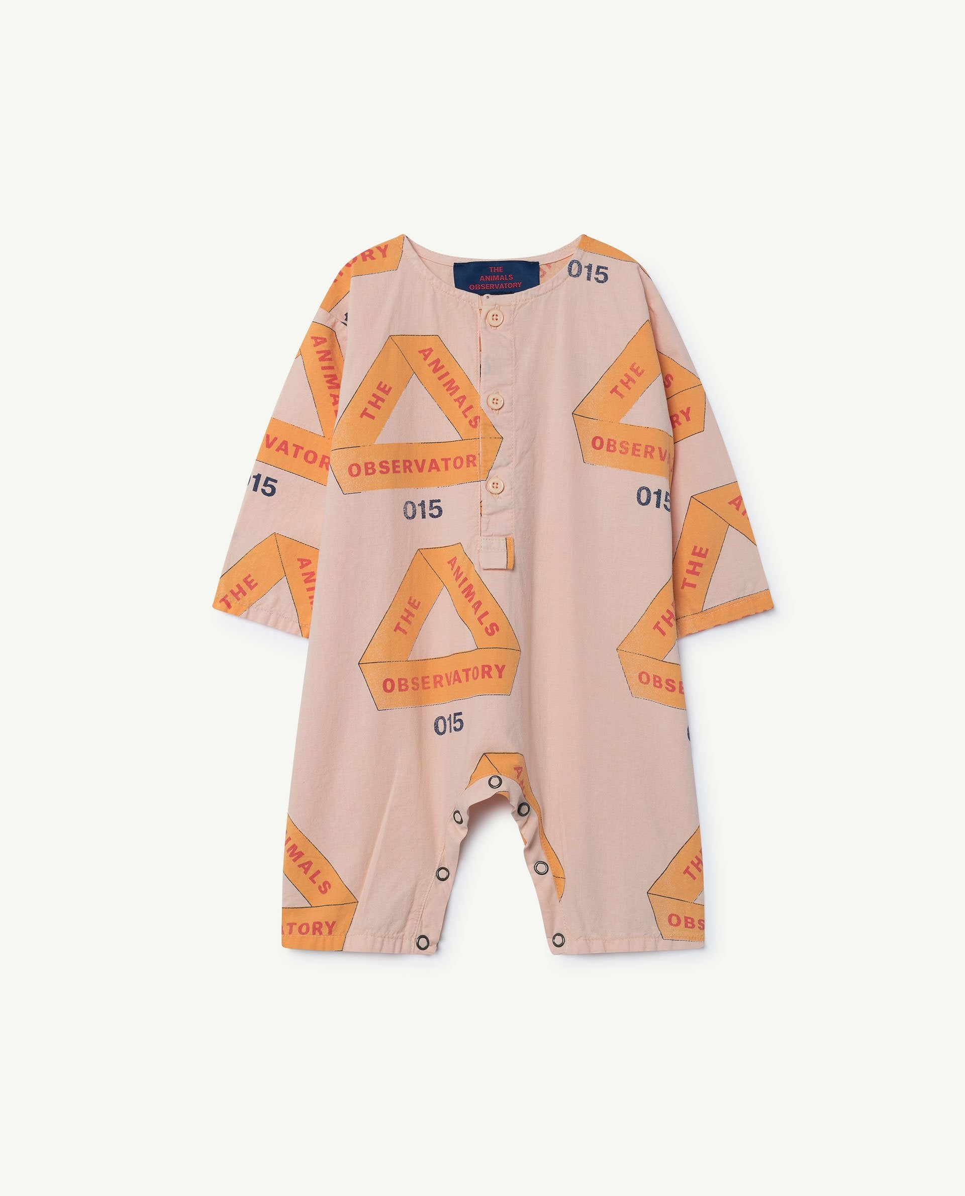 The Animals Observatory Meerkat Unisex Baby Romper Rose Triangles | BIEN BIEN