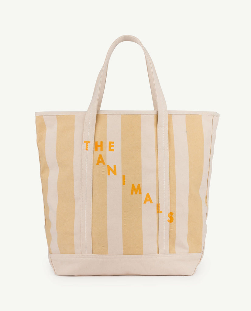 The Animals Observatory Unisex Canvas Tote Bag Yellow Raw White Stripe | BIEN BIEN
