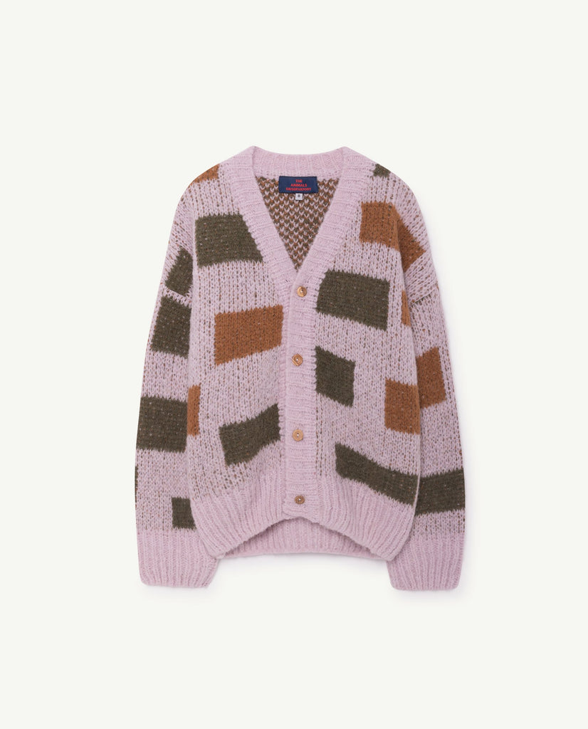 The Animals Observatory Arty Peasant Unisex Kid's Cardigan Light Purple | BIEN BIEN