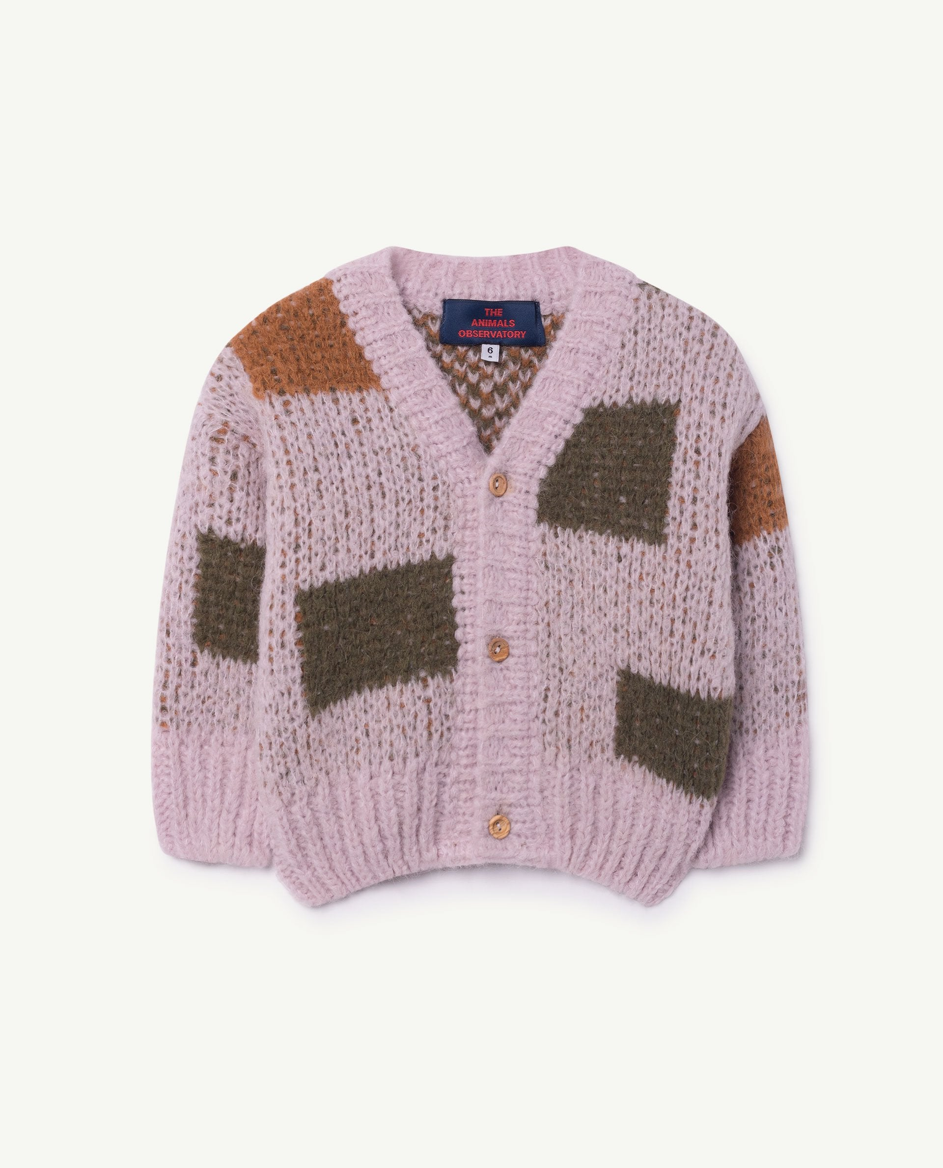 The Animals Observatory Arty Peasant Unisex Baby Cardigan Sweater Light Purple | BIEN BIEN