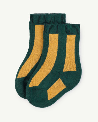 The Animals Observatory Skunk Baby Socks Deep Green Yellow | BIEN BIEN