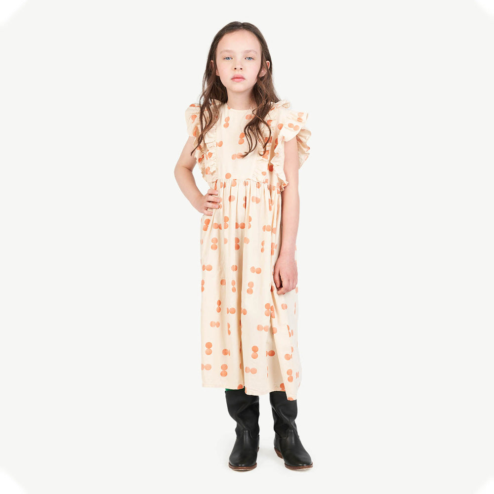 New - The Animals Observatory Otter Kid's Dress Orange Circles | BIEN BIEN www.bienbienshop.com