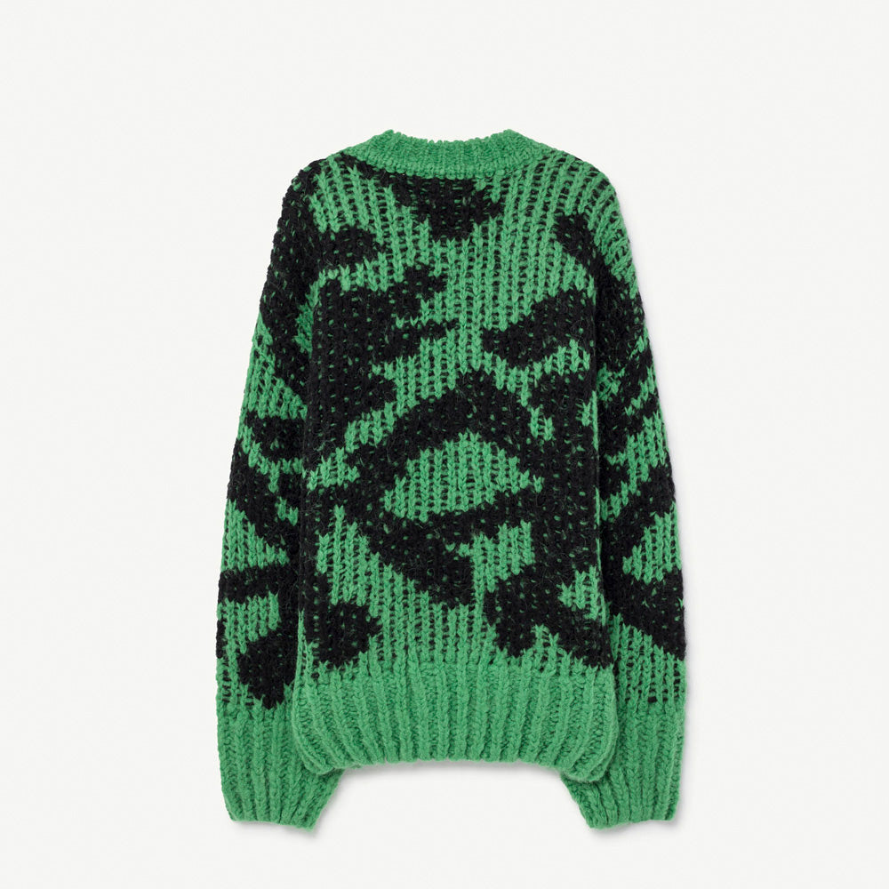 New - The Animals Observatory Arty Raccoon Kid's Cardigan Green/Black | BIEN BIEN www.bienbienshop.com