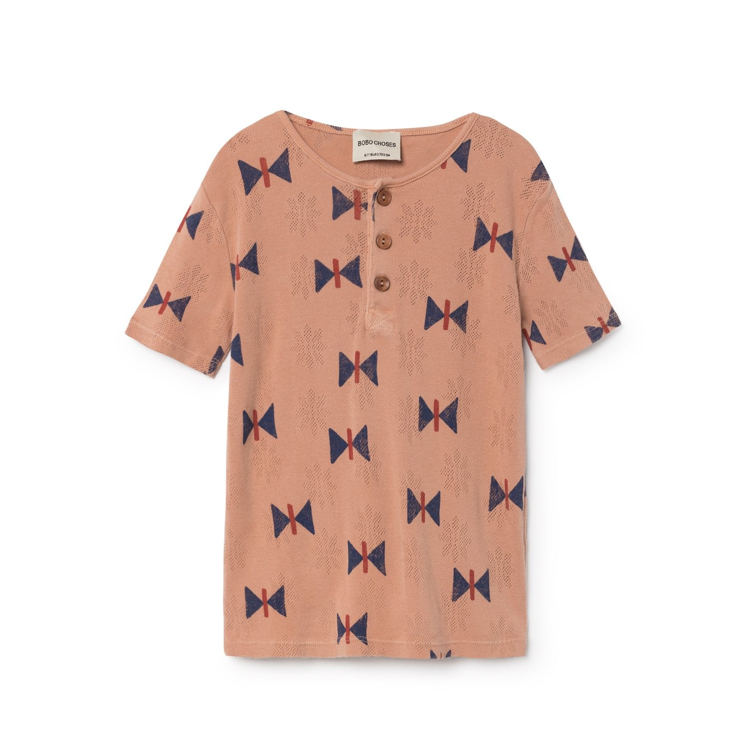 Bobo Choses Buttons Pointelle Kid's Henley in Taupe Butterfly | BIEN BIEN
