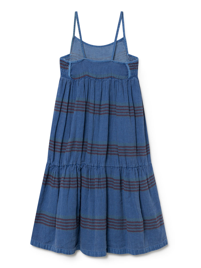 Bobo Choses Blue Stripes Linen Princess Maxi Dress | BIEN BIEN