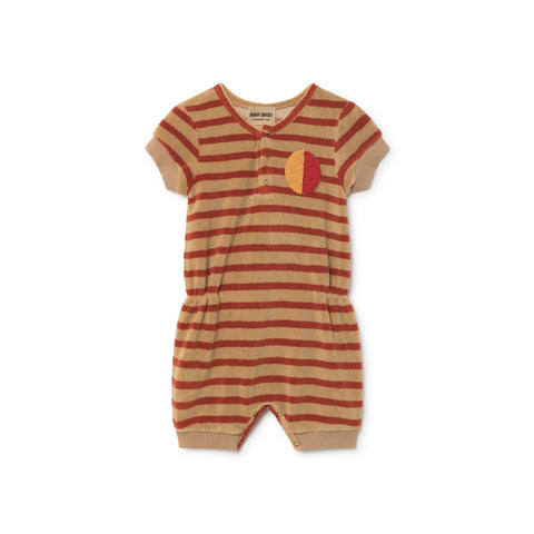 Bobo Choses Treetop Baby Playsuit in Sand Stripe | BIEN BIEN