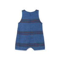 Bobo Choses Stripes Linen Baby Playsuit in Blue | BIEN BIEN