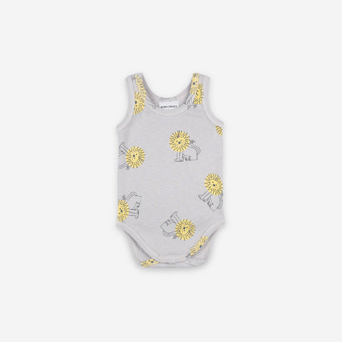 NEW Bobo Choses Pet Lion Sleeveless Baby Body Organic Cotton Quiet Gray | BIEN BIEN