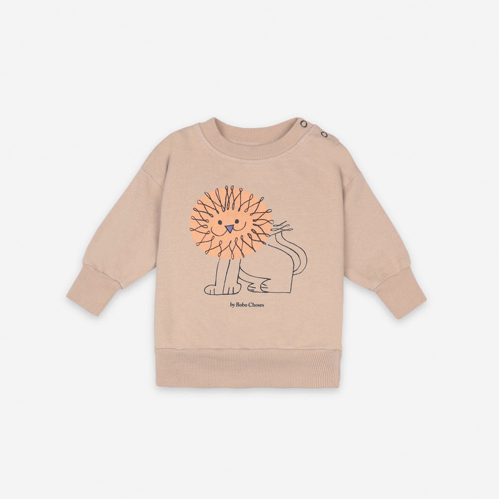 NEW Bobo Choses Pet Lion Baby Sweatshirt Organic Cotton Brush Beige BIEN BIEN
