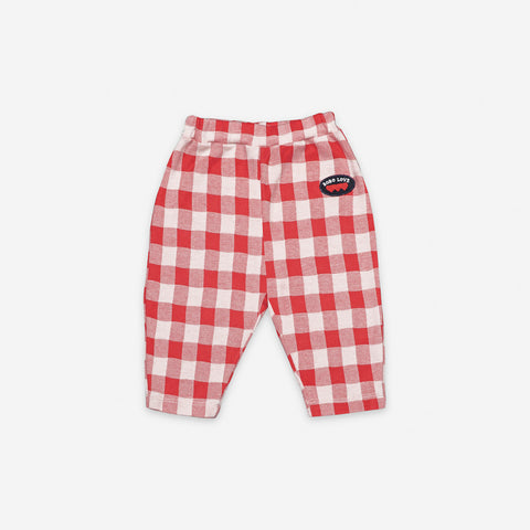 NEW Bobo Choses Vichy Baby Trouser Red Gingham Organic Cotton | BIEN BIEN bienbienshop.com