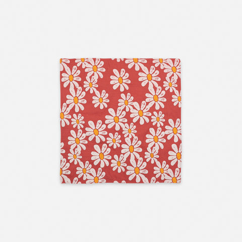 NEW Bobo Choses Daisy Floral Kid's Square Scarf Topaz Red | BIEN BIEN