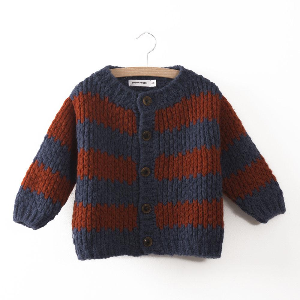 Bobo Choses Knitted Kid's Cardigan in Nautical Stripe | BIEN BIEN