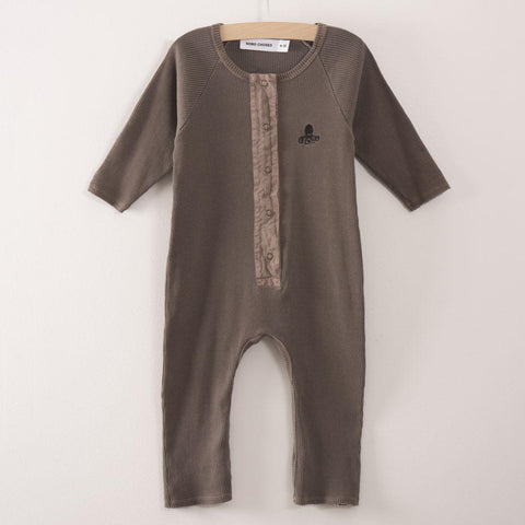 Bobo Choses Ribbed Baby Jumpsuit in Dark Taupe Octopus | BIEN BIEN