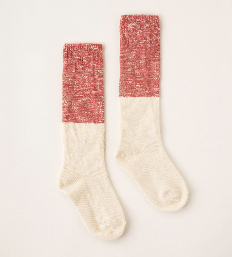 Bobo Choses Bicolor Unisex Baby Knee Sock in Red/Ivory | BIEN BIEN