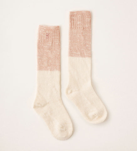 Bobo Choses Bicolor Baby Girl Knee Sock in Misty Rose/Ivory | BIEN BIEN