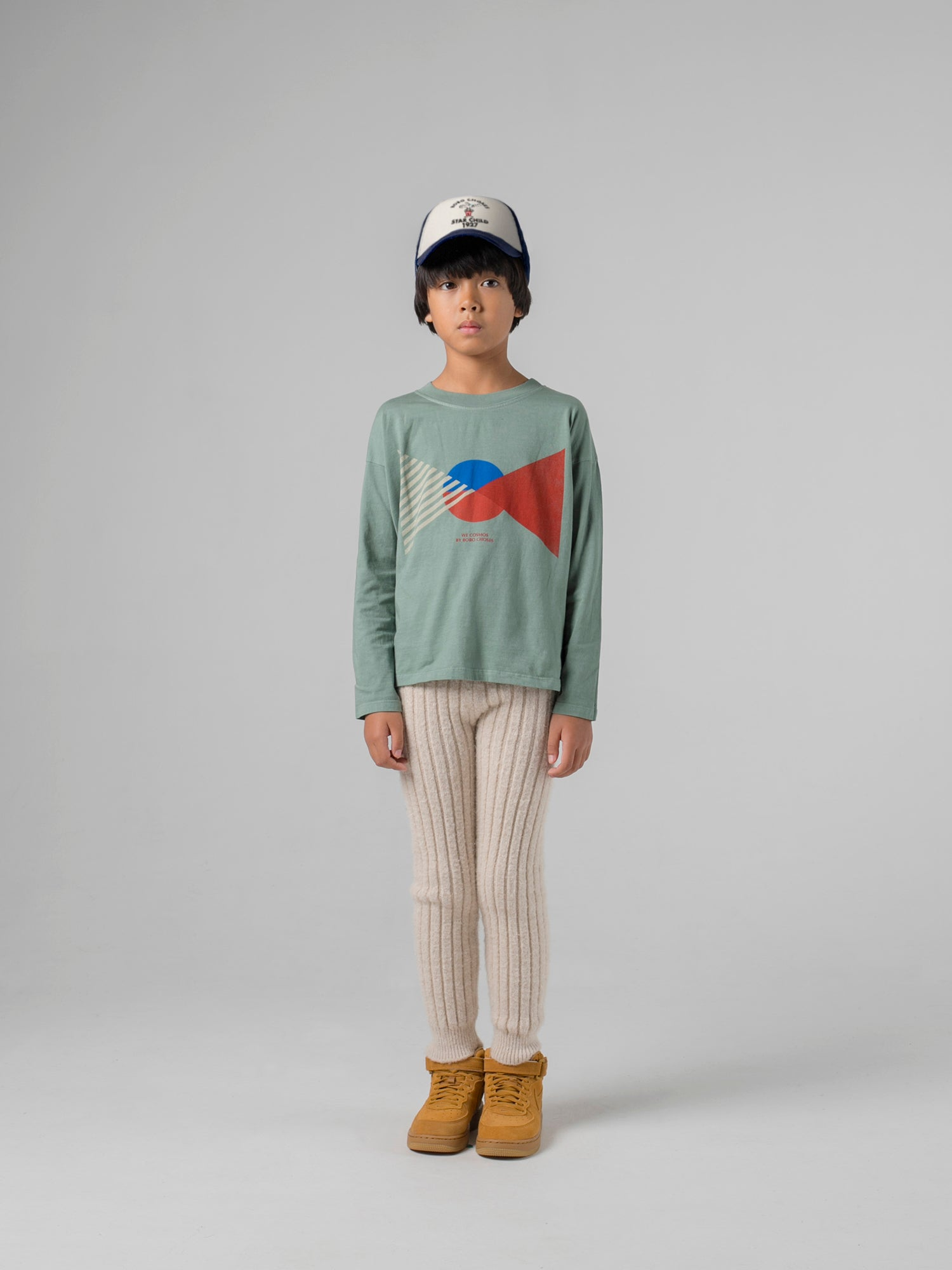 Bobo Choses Ribbed Knit Kid's Legging Beige | BIEN BIEN www.bienbienshop.com