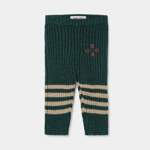 Bobo Choses Knee Stripes Rib Knit Baby Leggings Sea Moss | BIEN BIEN www.bienbienshop.com