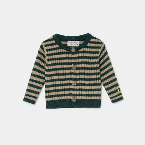Bobo Choses Striped Rib Knit Baby Cardigan Sea Moss | BIEN BIEN www.bienbienshop.com