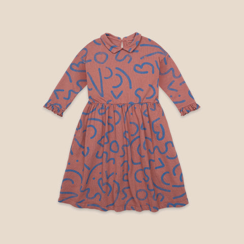 Bobo Choses Curved Lines Kid's Woven Dress Mahogany NEW | BIEN BIEN bienbienshop.com