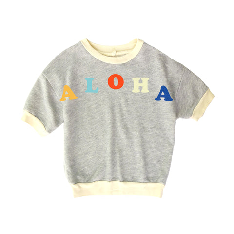 Nico Nico Miki Short Sleeve Kid's Pullover Sweatshirt in Aloha Grey | BIEN BIEN