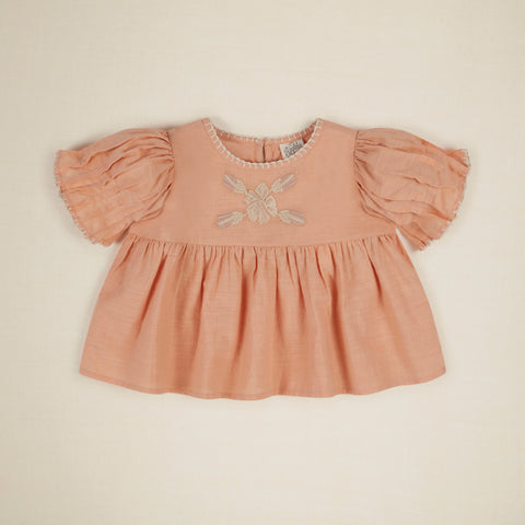 Apolina Rosa Embroidered Baby Blouse Rose Jacquard | BIEN BIEN