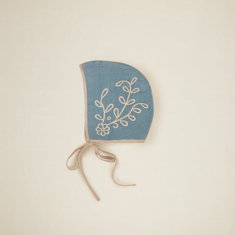 New Apolina Jeannie Embroidered Baby Bonnet Blue Stone | BIEN BIEN bienbienshop.com