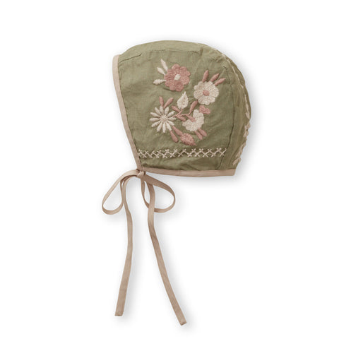 Apolina Joni Embroidered Baby Bonnet Pistachio Cotton | BIEN BIEN www.bienbienshop.com