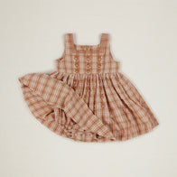 Apolina Betty Baby Embroidered Dress Hay Farm Check Cotton  | BIEN BIEN www.bienbienshop.com