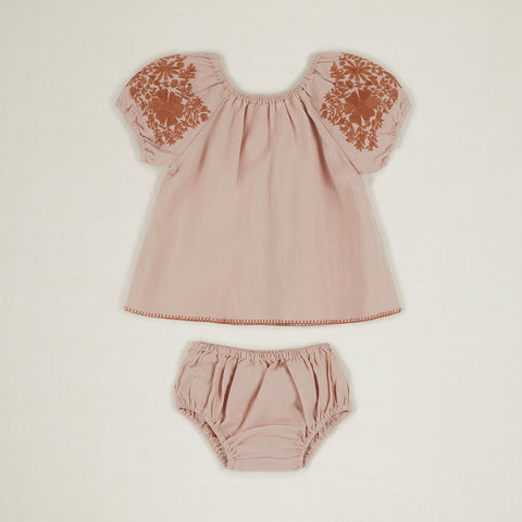 Apolina Barbara Baby Embroidered Puff Sleeve Tunic & Bloomer Set Pink Sand | BIEN BIEN www.bienbienshop.com