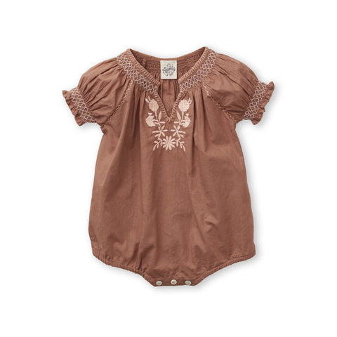 Apolina Pol Baby Girl Romper in Loaf Cotton Poplin with Peach Embroidery | BIEN BIEN www.bienbienshop.com