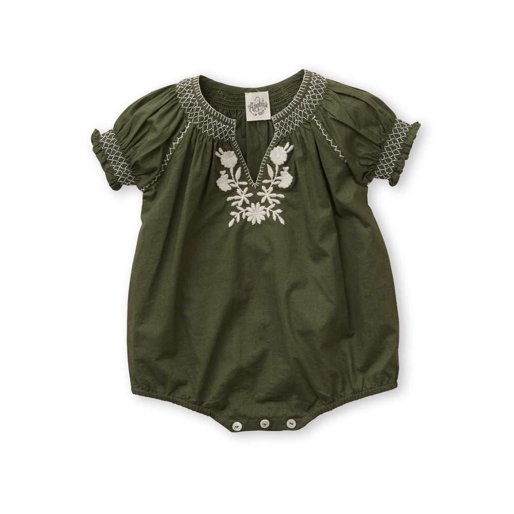 60ed73ae475 Apolina Pol Baby Girl Embroidered Romper in Olive Green Cotton Poplin