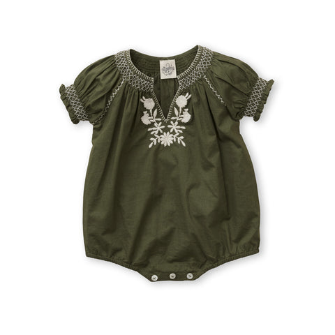 Apolina Pol Baby Girl Embroidered Romper in Olive Green Cotton Poplin | BIEN BIEN www.bienbienshop.com