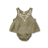 Apolina Bessie Baby Girl Tunic Set in Pistachio Linen with Biscuit/Ivory Embroidery | BIEN BIEN www.bienbienshop.com